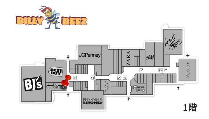 フロア1階。 地図中 赤いピンの場所。 駐車場によっては入り口入ってすぐ左手に見えますね。