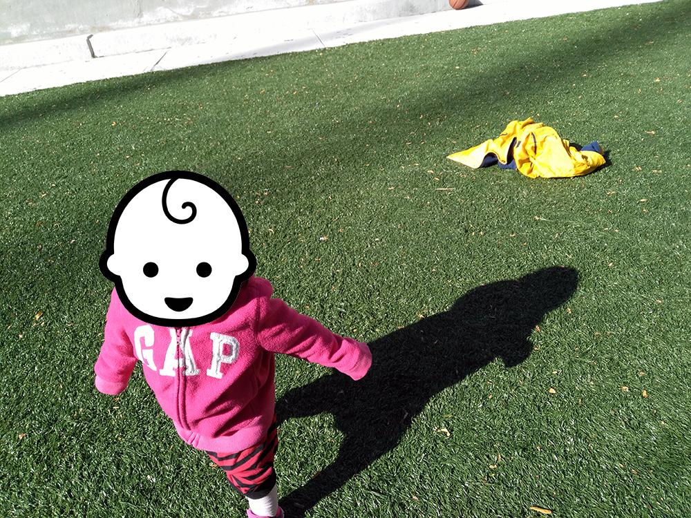 弐号機は遊具よりも芝生でボールを追いかけて遊ぶのに夢中でした。無限に走っています。