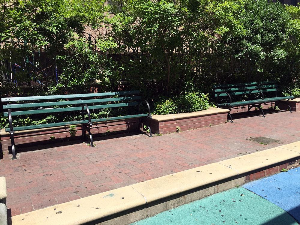 疲れたらベンチで休憩可。 但し、直射日光の可能性ありw。